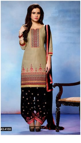 MAHATI Beige Silk Blend Dress Material