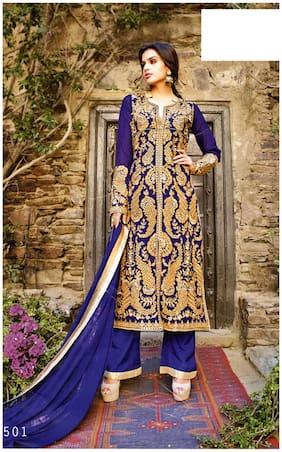 MAHATI Blue Chiffon Semi Stitched Suit