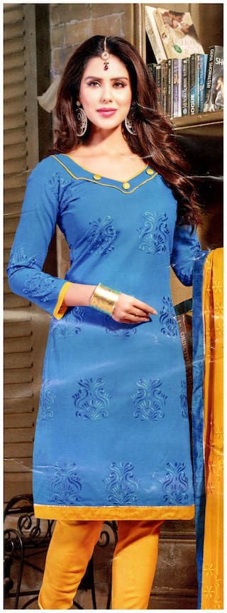 MAHATI Blue Silk Blend Dress Material
