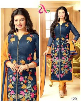 MAHATI Blue Chanderi Silk Semi Stitched Suit