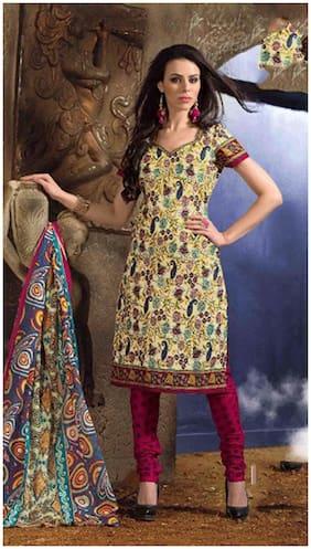 MAHATI Cream Cotton Dress Material