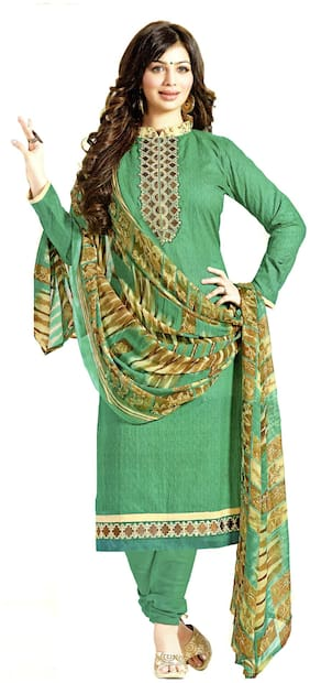 Mahati Green Embroidered Cotton Unstitched Salwar Suit With Chiffon Silk Dupatta