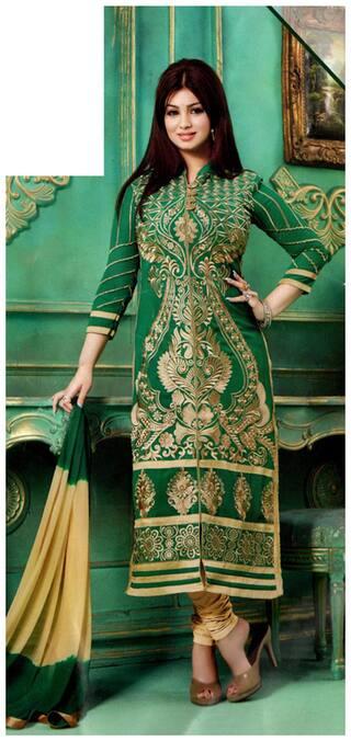 MAHATI Green Cotton Semi-Stitched Suit