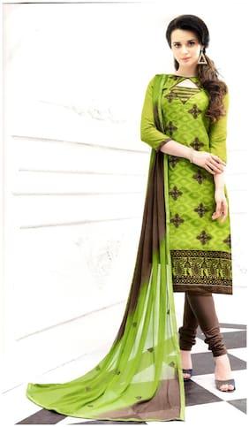 MAHATI lakda cotton jacquard unstitched salwar suit with chiffon silk dupatta