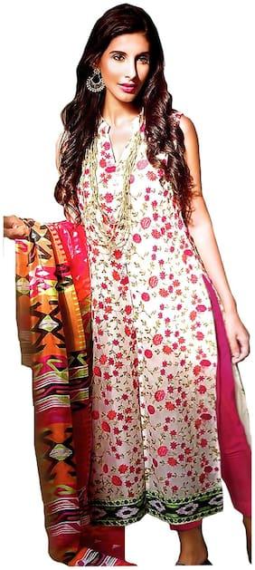 MAHATI lawn cotton unstitched salwar suit with chiffon silk dupatta