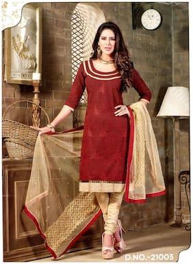 MAHATI Maroon Silk Blend Dress Material