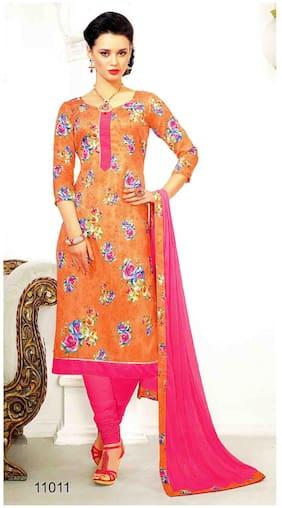 MAHATI Orange Chanderi And Silk Unstitched Suit