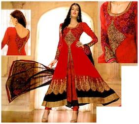MAHATI Red Chiffon Semi Stitched Suit