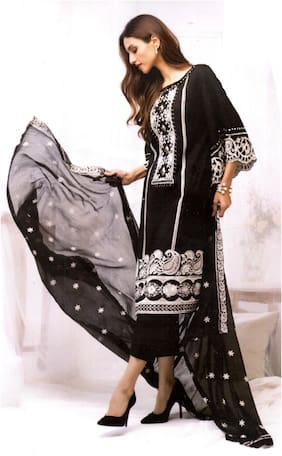 MAHATI Black Unstitched Kurta with bottom & dupatta With dupatta Dress Material