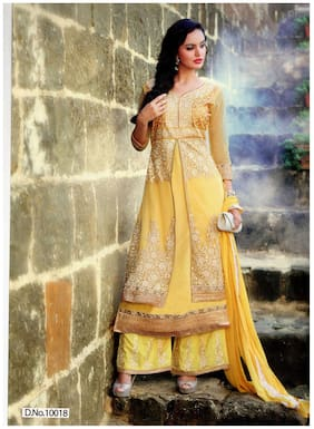 MAHATI Yellow Chiffon Semi Stitched Suit