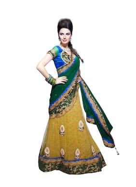 Mahotsav Net Universal Embroidered work Saree - Multi , With blouse
