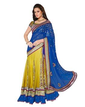 Mahotsav Saree Net;Satin Blue;Shaded Neon Green Saree