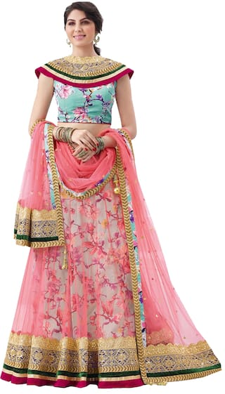 ba0aea05ff185d Buy Mahotsav Net Striped Flared Lehenga Choli - Pink Online at Low ...
