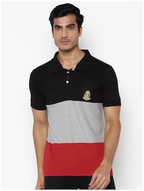 Men Polo Collar Colorblocked T-Shirt
