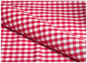 Makhanchor Men Cotton Checked Suiting - Red & White