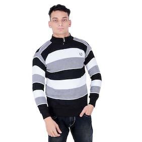Makhkha Men's Woolen Multocolor BALACK GREY full Sweater