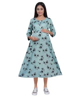 mamma's maternity Women Maternity Dress - Blue Xl