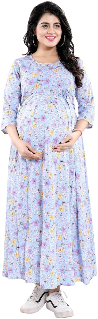 mamma's maternity Women Maternity Dress - Blue Xxl