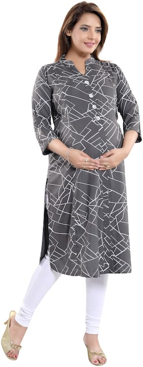 mamma's maternity Women Maternity Kurta - Grey Xxl