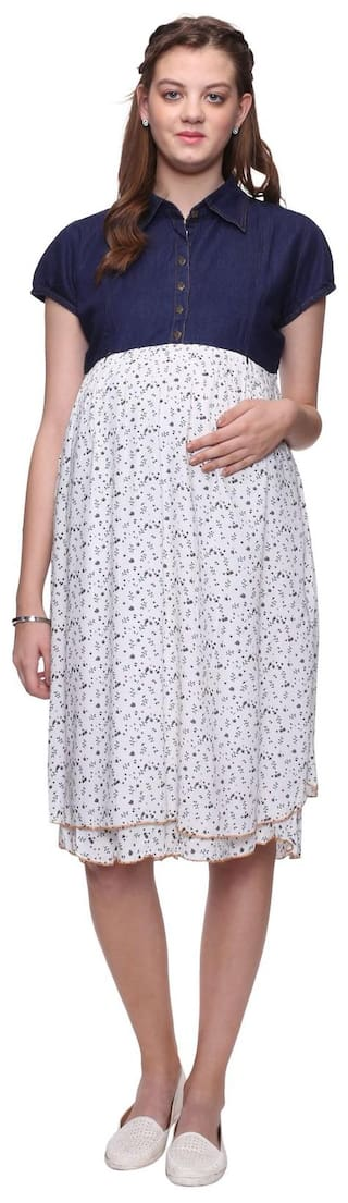 Blue Floral Maternity White Demin Dress Maternity Printed Mamma's At6x5Wq