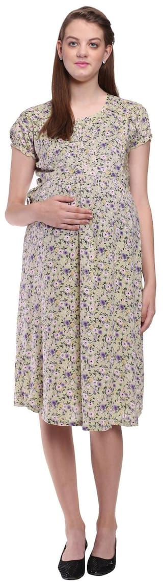 Mamma's Maternity Floral Printed Maternity Dress