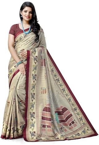 Maniyar Printed Madhubani Silk Saree (Beige)