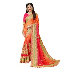 Manohari Designer Pure Chiffon Embroidery saree with Blouse