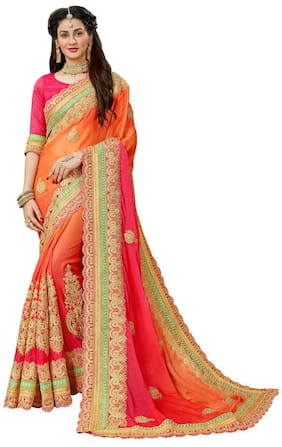 Manohari Chiffon Phulkari Embroidered Work Saree - Orange a0e0ccf5f