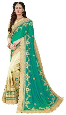Manohari Silk Universal Embroidered work Saree - Green , With blouse