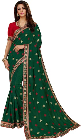 Manohari Green Embroidered Dupion Designer Saree With Blouse , With blouse