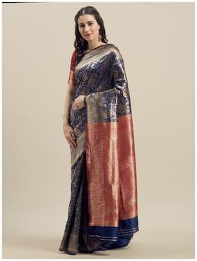 Manohari Silk Zari Work Banarasi Designer Saree Blue