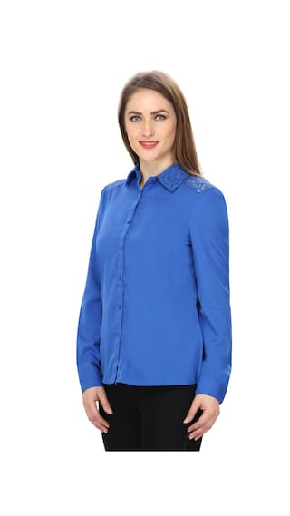 MansiCollections Polyester Blue MansiCollections Shirt Blue 1zxzXvP