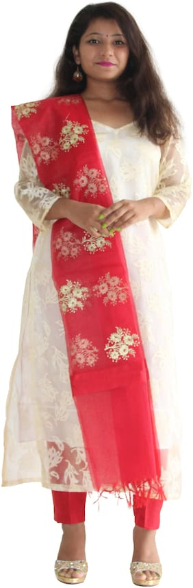 Manurath Net Floral Dress Material - White & Red