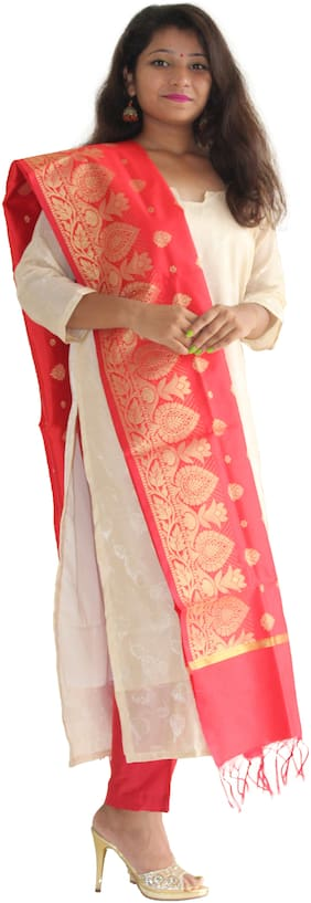 Manurath Silk Floral Dress Material - White & Red