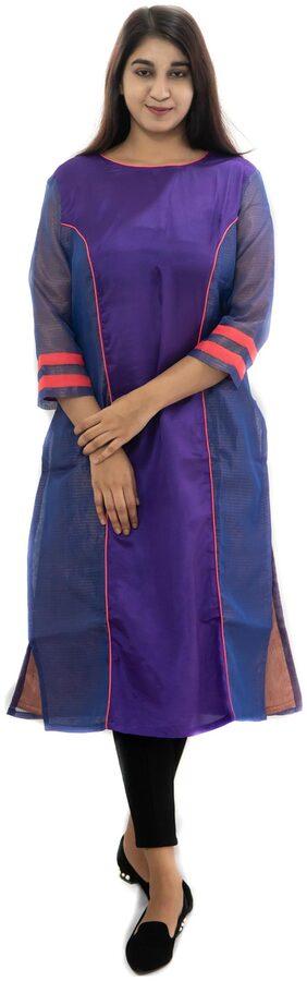 Manurath Women Silk Solid Straight Kurta - Purple