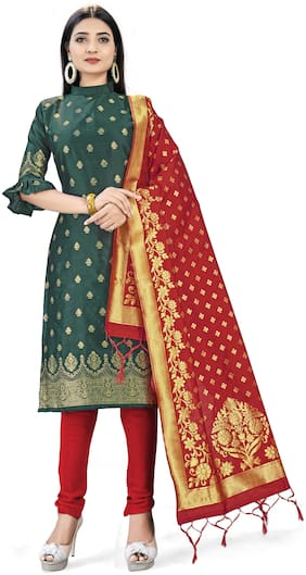 MANVAA Green Unstitched Kurta with bottom & dupatta With dupatta Dress Material