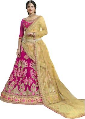 MANVAA Net Embroidered Semistiched Lehenga Choli With Dupatta Pink
