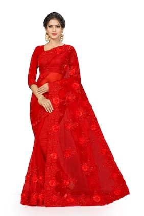 MANVAA Net Embroidered Red Color Regular Saree With Blouse