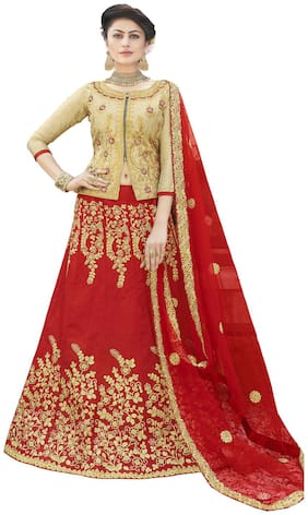 MANVAA Silk Embroidered Semistiched Lehenga Choli With Dupatta Red