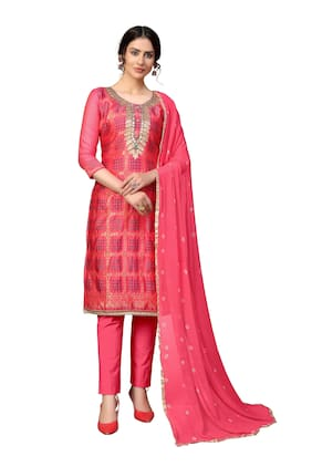 MANVAA Pink Unstitched Kurta with bottom & dupatta With dupatta Dress Material