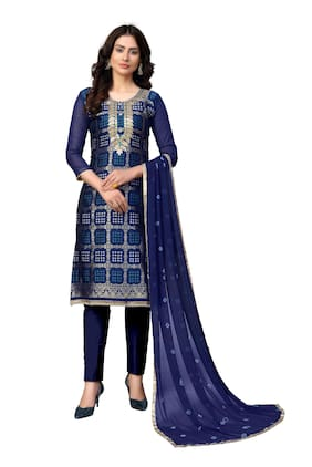 MANVAA Blue Unstitched Kurta with bottom & dupatta With dupatta Dress Material