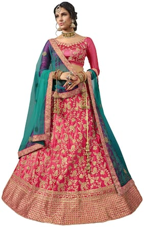 MANVAA Silk Embroidered Semistiched Lehenga Choli With Dupatta Pink
