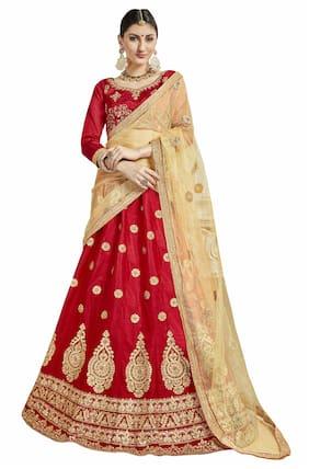 MANVAA Silk Embroidered Semistiched Lehenga Choli With Dupatta Red
