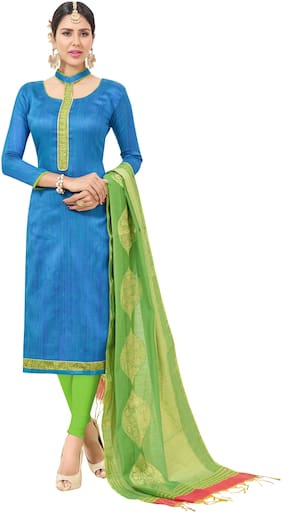 Manvaa Women Blue Woven Cotton Dress Material
