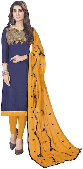 Manvaa Women Blue Embroidered Cotton Dress Material
