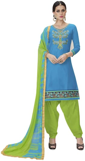 Manvaa Women Sky Blue Patiyala Embroidered Cotton Dress Material
