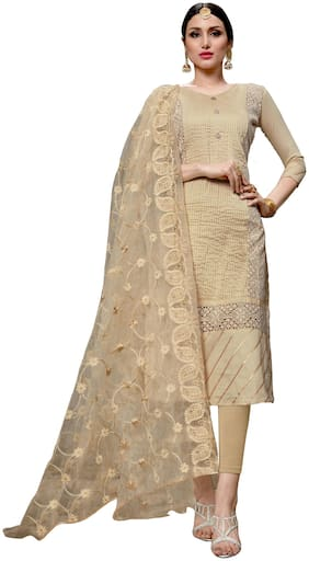 Manvaa Women Beige Embroidered Cotton Dress Material