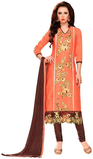 Manvaa Women Peach Embroidered Cotton Dress Material