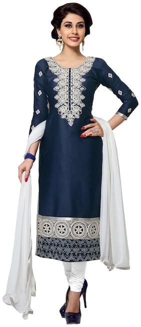 Manvaa Women Blue Embroidered Cotton Dress Material