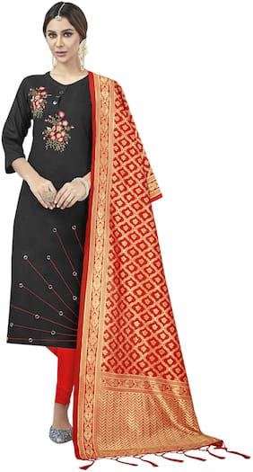 MANVAA Women Cotton Blend Kurta with Bottom & Dupatta -Black